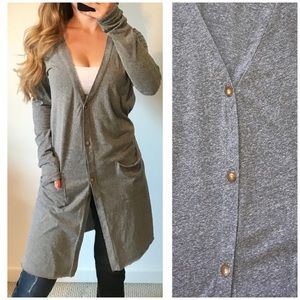 ANTHROPOLOGIE t.la Gray Long Cardigan Sweater Med